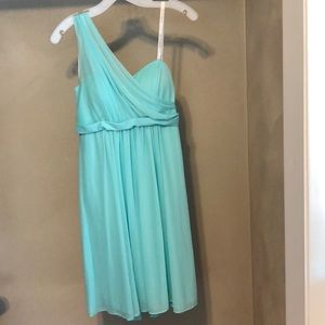 Teal One Shoulder Medium length dress